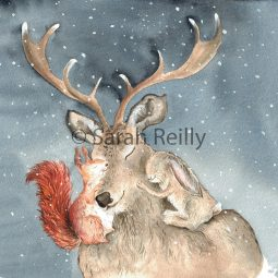 Christmas Cuddles by Sarah Reilly Suffolk Artist Love Country UK