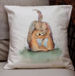 Hares my Family Cushion by Sarah Reilly Love Country UK