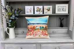 Seaside Poppies Cushion by Sarah Reilly
