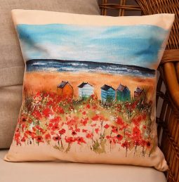 Seaside Poppies Cushion by Sarah Reilly Love Country UK