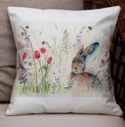 Spring is Hare Cushion by Sarah Reilly Love Country UK